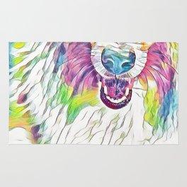 Collie in Rainbow Pastel Rug