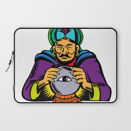 Fortune Teller With Crystal Ball Woodcut Laptop Sleeve
