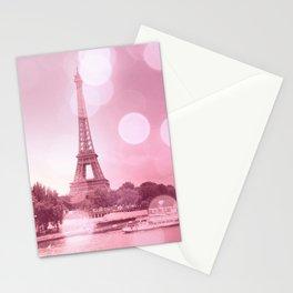 Paris Eiffel Tower Pink Bokeh Stationery Cards