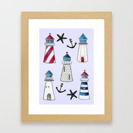 Watercolor Lighthouses Framed Art Print