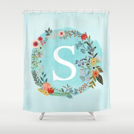Personalized Monogram Initial Letter S Blue Watercolor Flower Wreath Artwork Shower Curtain