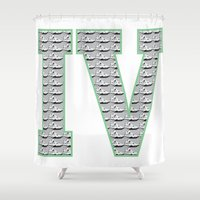 1989 Shower Curtains featuring Cement Retro IV's (1989) by Dogum Design