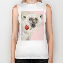 Polar Bear with Red Rose Biker Tank