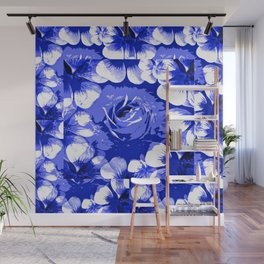 Roses Blue and White Toile #2 Wall Mural