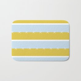 Cream Mustard Blue Stripe Bath Mat