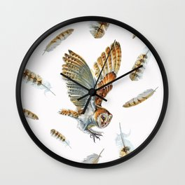 Barn Owl Landing  Wall Clock