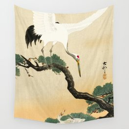 Crane and its chicks on a pine tree  - Vintage Japanese Woodblock Print Art Wall Tapestry