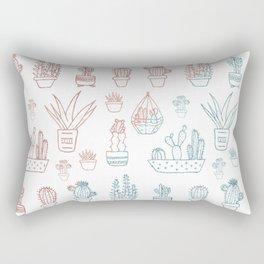 Modern blush tones teal rose gold cactus floral Rectangular Pillow