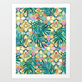 Gilded Moroccan Mosaic Tiles with Palm Leaves Art Print