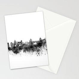Palermo skyline in black watercolor on white background Stationery Cards