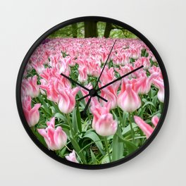 Rows of tulips in the Netherlands Wall Clock
