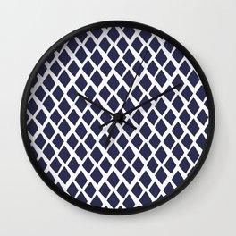 Rhombus Blue And White Wall Clock
