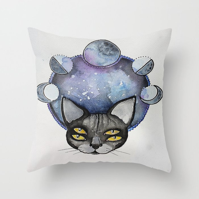 Double Vision Space Cats Throw Pillow