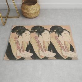 Vintage Japanese Ukiyo-e Woodblock Print Woman Portrait II Rug