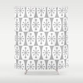 Mid Century Modern Atomic Fusion Pattern Grey Shower Curtain