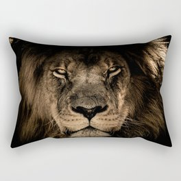 Lion Face Closeup Rectangular Pillow