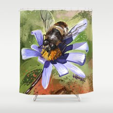 Bee on flower 18 Shower Curtain