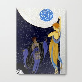 "Art Deco Design ""Nocturne"" by Erté Metal Print"