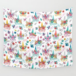 Unicorns with Glasses Wall Tapestry