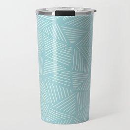 Powder Blue Triangles Travel Mug