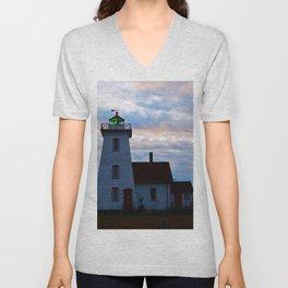 Green Beacon Lighthouse Unisex V-Neck
