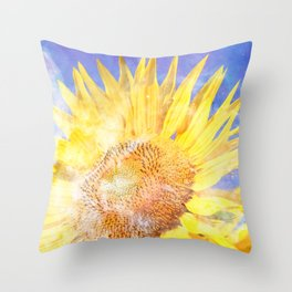 Sunflower in Space [Carina Nebula] Throw Pillow