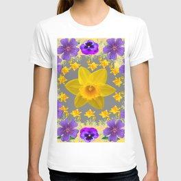 SPRING PURPLE  FLOWERS DAFFODIL ART DESIGN T-shirt