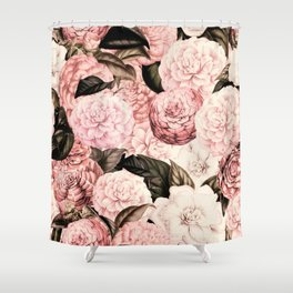 Vintage & Shabby Chic Pink Floral camellia flowers watercolor pattern Shower Curtain
