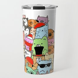 Cute Cats and Dogs Doodle Travel Mug