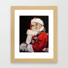 Santa With Jingle Bells Framed Art Print