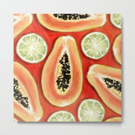 Papaya and Lime Metal Print