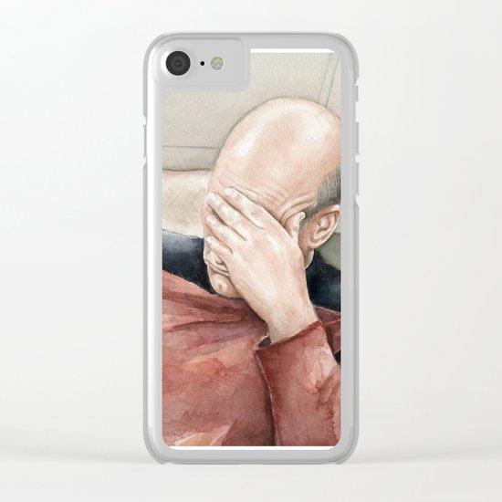 Picard Facepalm Meme Funny Geek Sci-fi Captain Picard TNG Clear iPhone Case