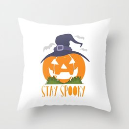Halloween Pumpkin with Witch Hat Throw Pillow