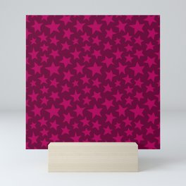 Raspberry Doodle Stars Mini Art Print
