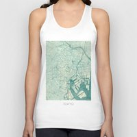 vintage map Tank Tops featuring Tokyo Map Blue Vintage by City Art Posters