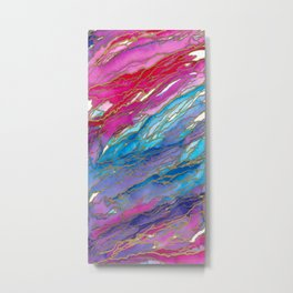 AGATE MAGIC PinkAqua Red Lavender, Marble Geode Natural Stone Inspired Watercolor Abstract Painting Metal Print
