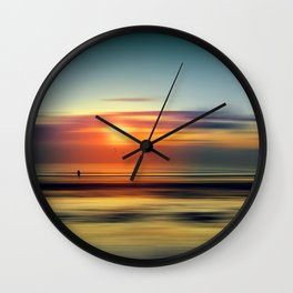Bright Red - seascape sunset abstract Wall Clock