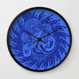 Ganesha Lineart Blue Wall Clock
