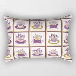 Pretty flower cup grid. Bouquet of pansy pattern Rectangular Pillow