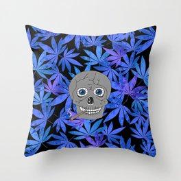 Grey Skull Weed Throw Pillow