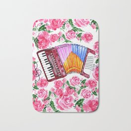 Accordion with pink roses Bath Mat