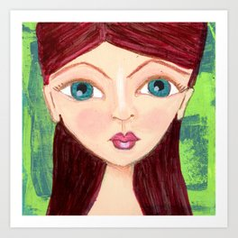 teal eyed girl Art Print