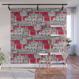 London toile red Wall Mural