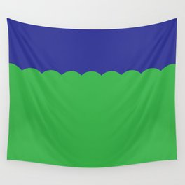 Scalloped - Kelly Green & Navy Wall Tapestry