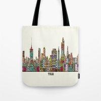 oklahoma Tote Bags featuring Tulsa oklahoma by bri.buckley