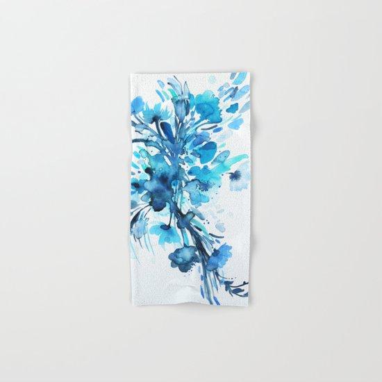 Blue Watercolor Floral 2 Hand & Bath Towel
