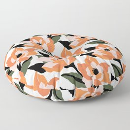 Bold orange poppy on a soft pink base Floor Pillow