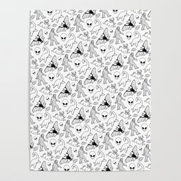 Cryptid Lineart Pattern 2 (White) Poster