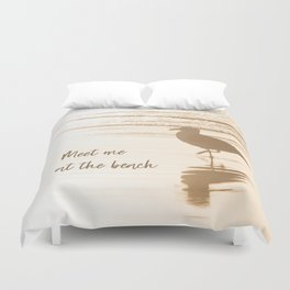 Meet Me at the Beach (typography) Duvet Cover