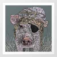 pig Art Prints featuring PIG by Barbara Graetzer